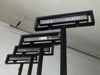 Platform lights on corner posts